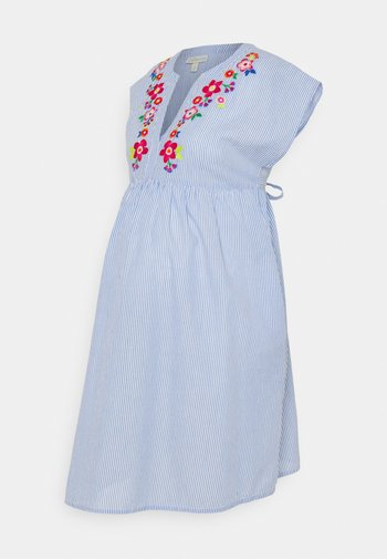 TICKING STRIPE EMBROIDERED DRESS - Denní šaty - blue