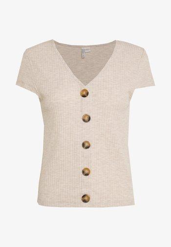 ONLNELLA BUTTON - Print T-shirt - pumice stone/melange