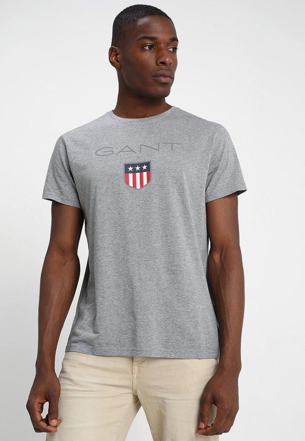 GANT SHIELD - T-shirt z nadrukiem - grey melange/szary melanż Odzież Męska ARBC