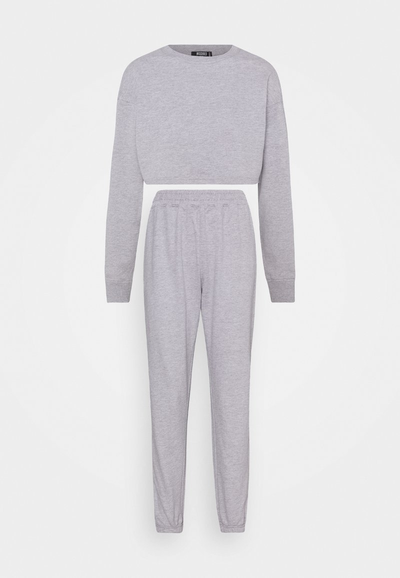 Missguided Petite - CROP JOGGER SET - Tracksuit - grey marl
