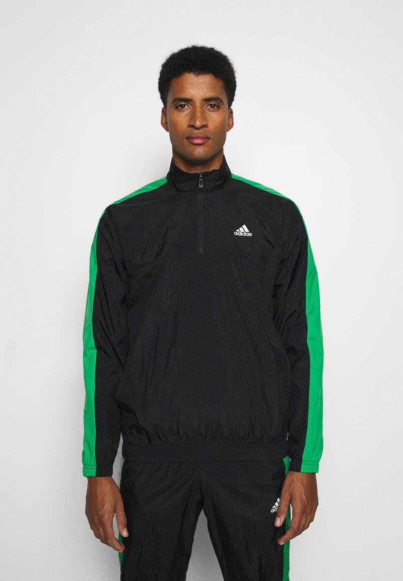 adidas Performance - ZIP - Træningssæt - black/black/vivgreen