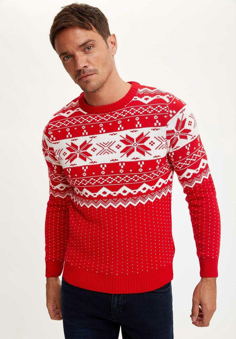 DeFacto - CHRISTMAS  - Stickad tröja - red