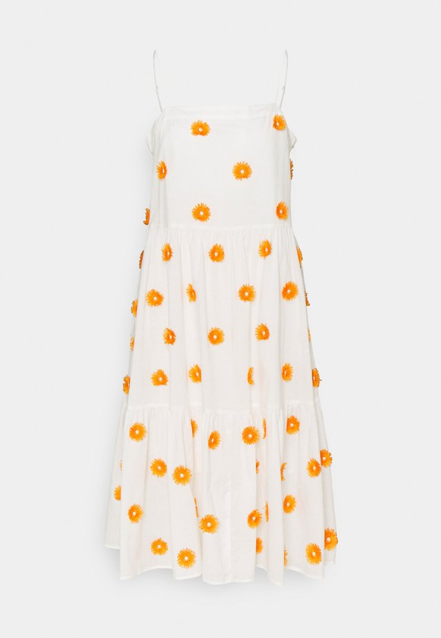 DUSTINA POM POM DRESS - Day dress - white/tangerine
