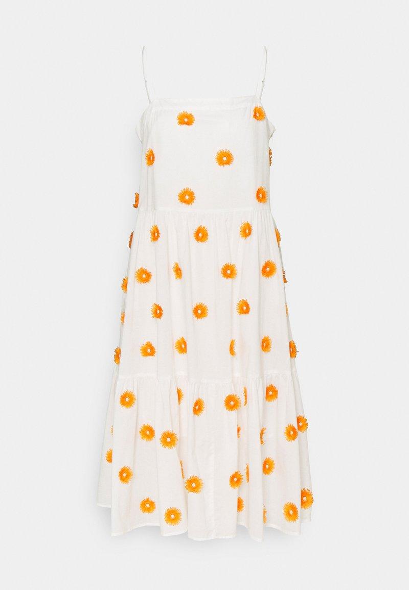 Milly - DUSTINA POM POM DRESS - Day dress - white/tangerine