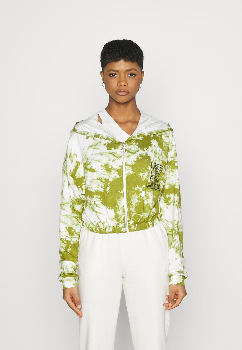 KENDALL + KYLIE - ZIPPER HOODY CROPPED - Sweater met rits - white/khaki