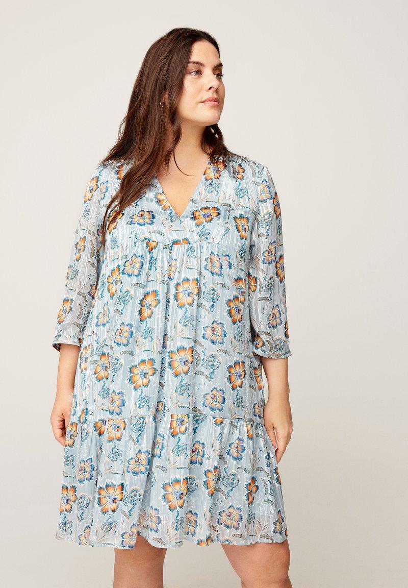 Zizzi - FLORAL PRINT  - Day dress - light blue