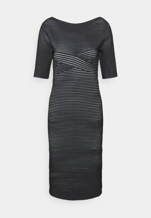 PLAITED TRANSFER BUSTIER DETAIL DRESS - Strickkleid - black alabaster