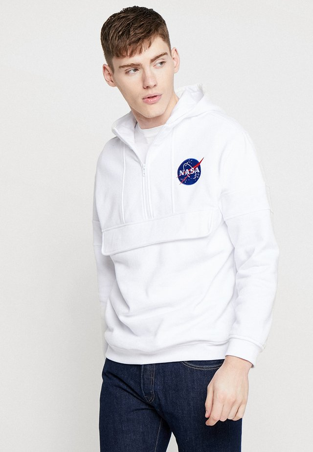 NASA CHEST EMBROIDERY HOODY - Hoodie - white