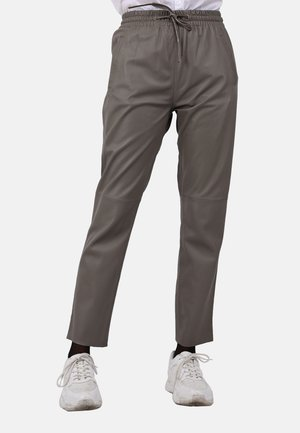 GIFT - Leather trousers - gray taupe