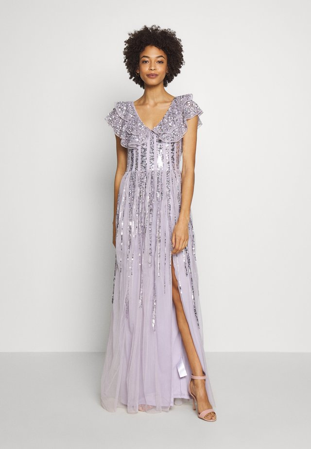RUFFLE SLEEVE MAXI DRESS - Galajurk - soft lilac