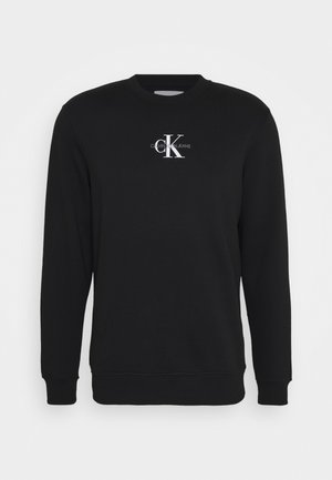 CHEST PRINT CREW NECK - Sweatshirt - black