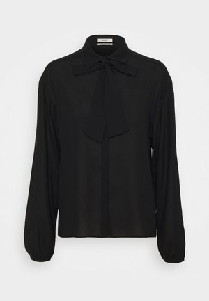 RUFFLE BLOUSE - Button-down blouse - black