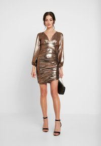 Club L London - PLUNGE RUCHED DRESS - Cocktail dress / Party dress - bronze - 2