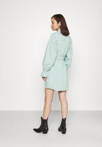 Missguided - FRILL CUFF SHIRT DRESS - Denim dress - sage - 2