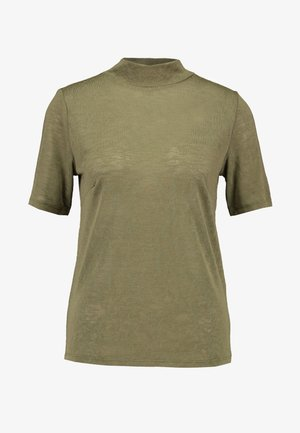 OBJTESSI HIGH NECK - Basic T-shirt - burnt olive
