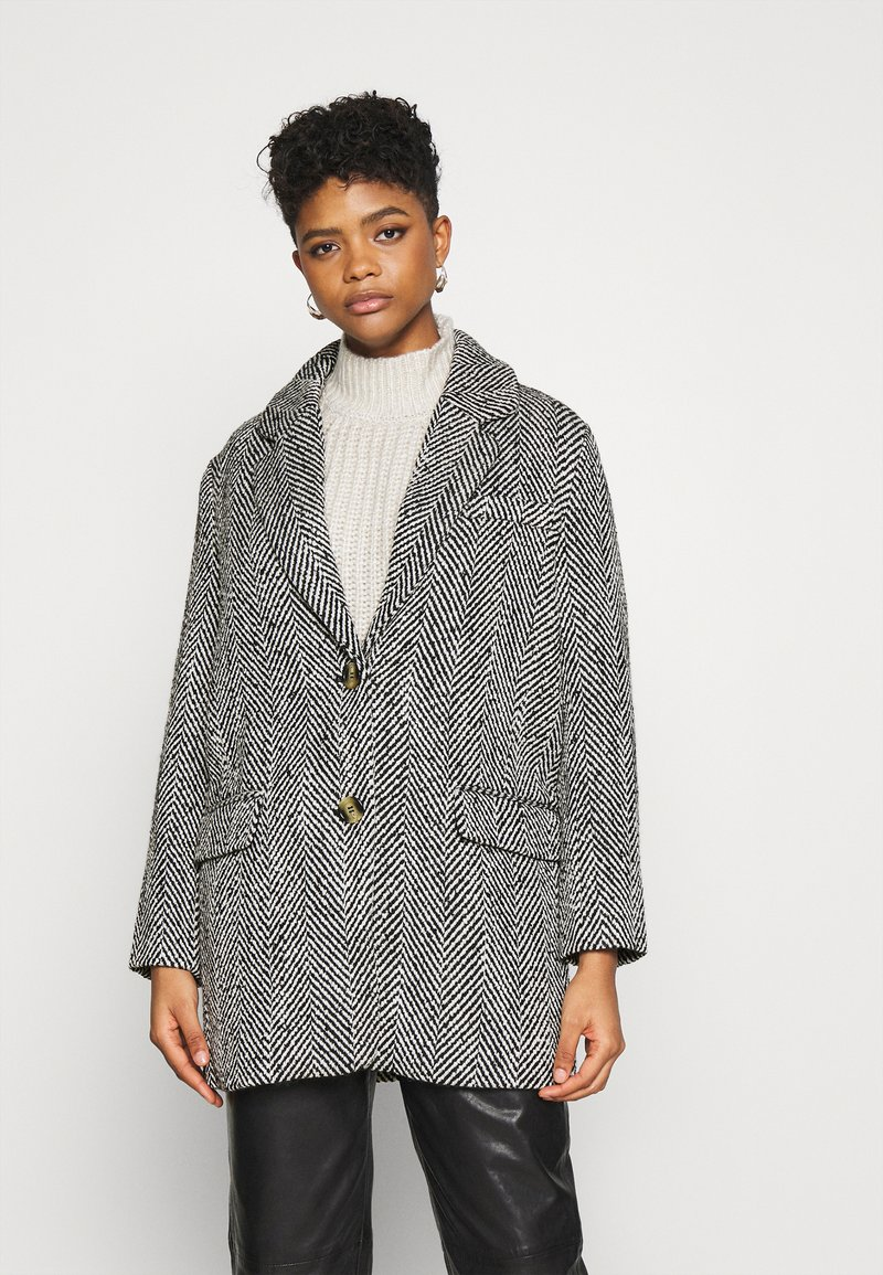 Gina Tricot - LINNEA COAT - Classic coat - black/white