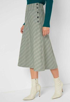 KARIERTER MIDIROCK - A-line skirt - grau