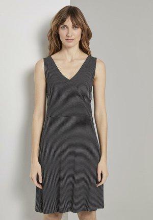 Jersey dress - black thin stripes