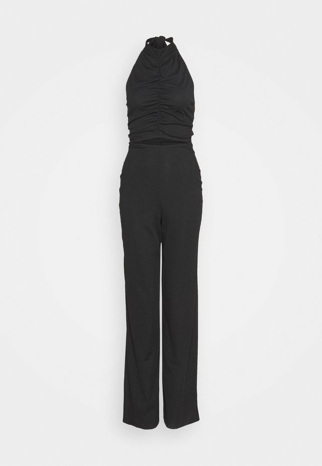 RUCHED HIGH NECK CUT OUT - Overall / Jumpsuit /Buksedragter - black
