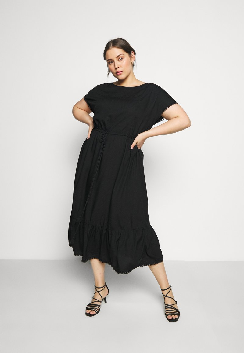 MY TRUE ME TOM TAILOR - DOBBY DRESS - Day dress - deep black