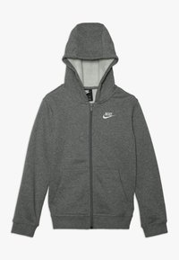 Nike Sportswear - HOODIE CLUB - Bluza rozpinana - carbon heather/smoke grey/white - 0