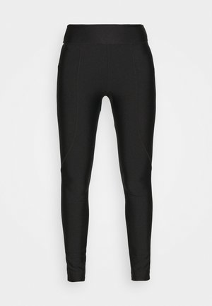 OVERLOCKED PANELLED SHINE - Leggings - Trousers - black