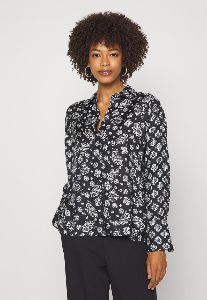 Marc O'Polo - BLOUSE COLLAR LONG SLEEVED PRINTED - Button-down blouse - multi/black