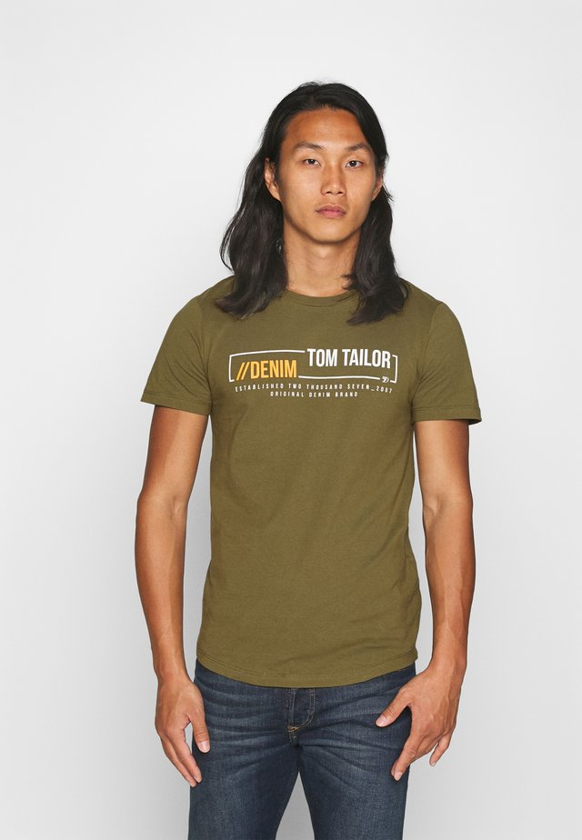 WITH PRINT - T-shirts print - dry greyish olive