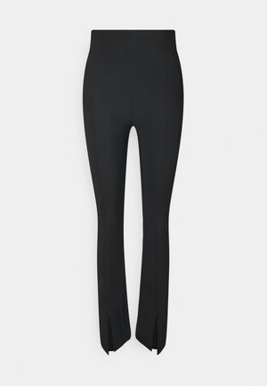 MY FRONT SLIT TROUSERS - Tygbyxor - black