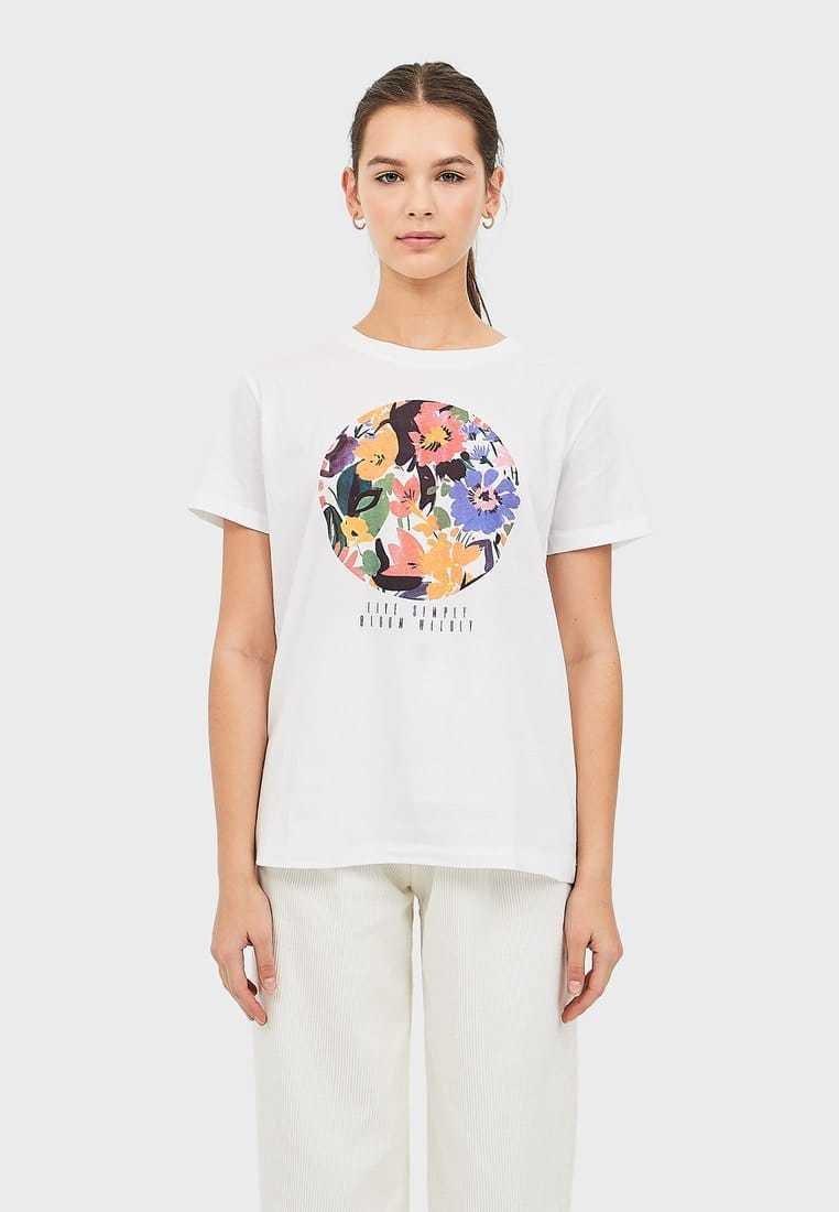 Stradivarius - MIT PRINT  - Print T-shirt - white