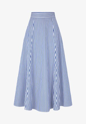 STRIPED SKIRTANCLE LENGTH - Maxi skirt - blue