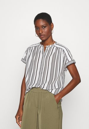 BLOUSE CREW NECK MODERN T-FIT HIDDEN PLACKET GATHERING DETAIL - Blouse - multi/oyster white