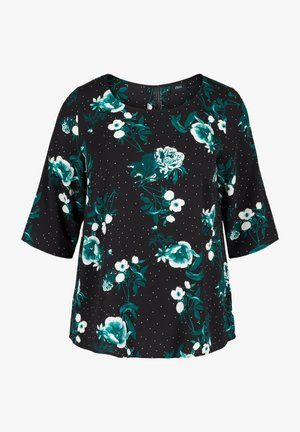 WITH LACE BACK AND 3/4-LENGTH SLEEVES - Blouse - black