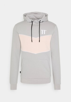BLOCKED PIPED PULL OVER HOODIE - Hoodie - vapour grey / peach blush / white