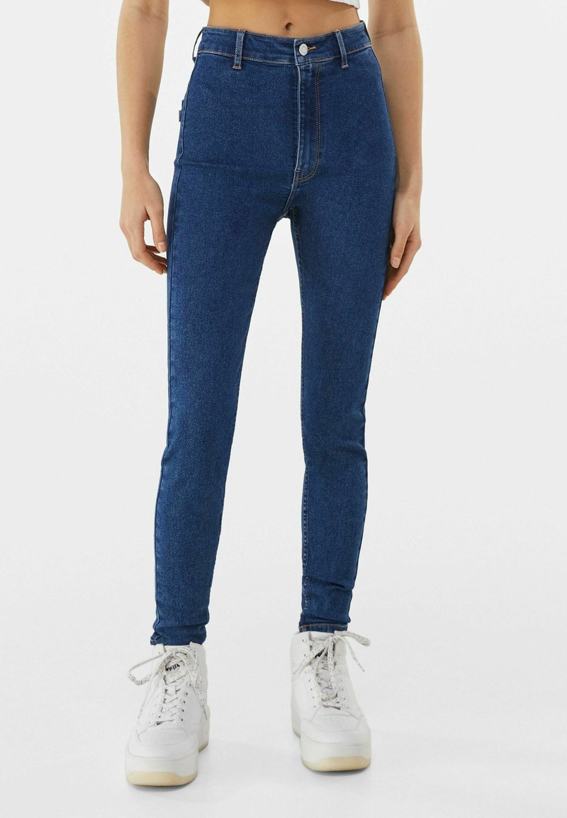 Bershka - SUPER HIGH WAIST - Jeans slim fit - dark blue
