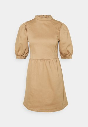 PUFF SLEEVE MINI DRESS - Denim dress - camel