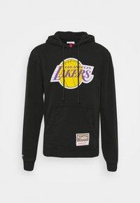 Mitchell & Ness - NBA LOS ANGELES LAKERS WORN LOGO HOODY - Club wear - black - 4
