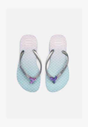 GLITTER COLOR - T-bar sandals - blue