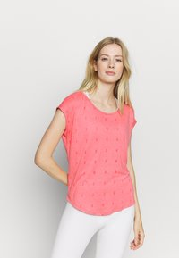 ONLY Play - ONPSHELLY CURVED BURN OUT TEE - Camiseta estampada - coral - 0