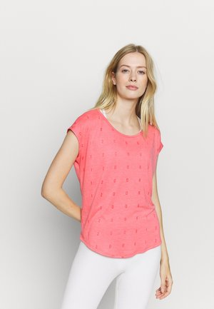 ONPSHELLY CURVED BURN OUT TEE - Print T-shirt - coral