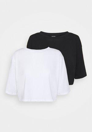 2 PACK - T-shirt - bas - black dark/white light