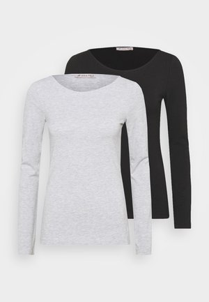 2 PACK - Long sleeved top - black/mottled grey
