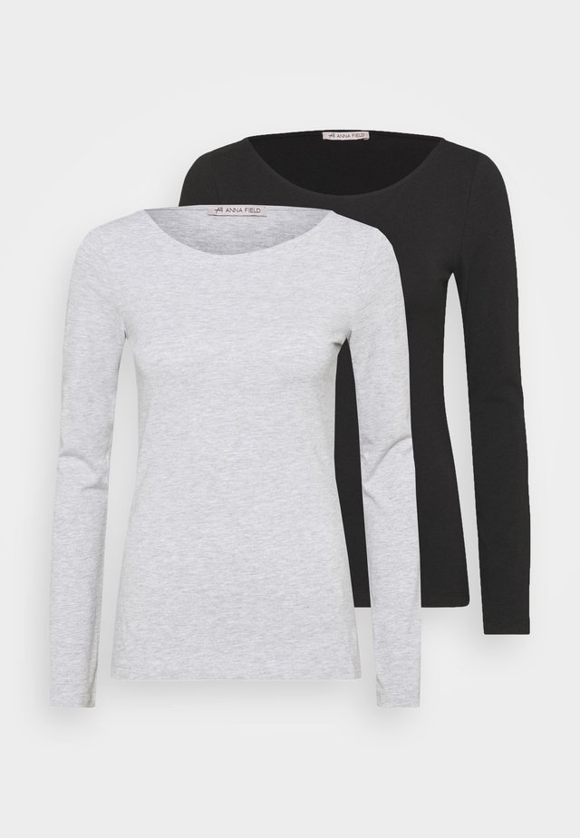 2 PACK - T-shirt à manches longues - black/mottled grey