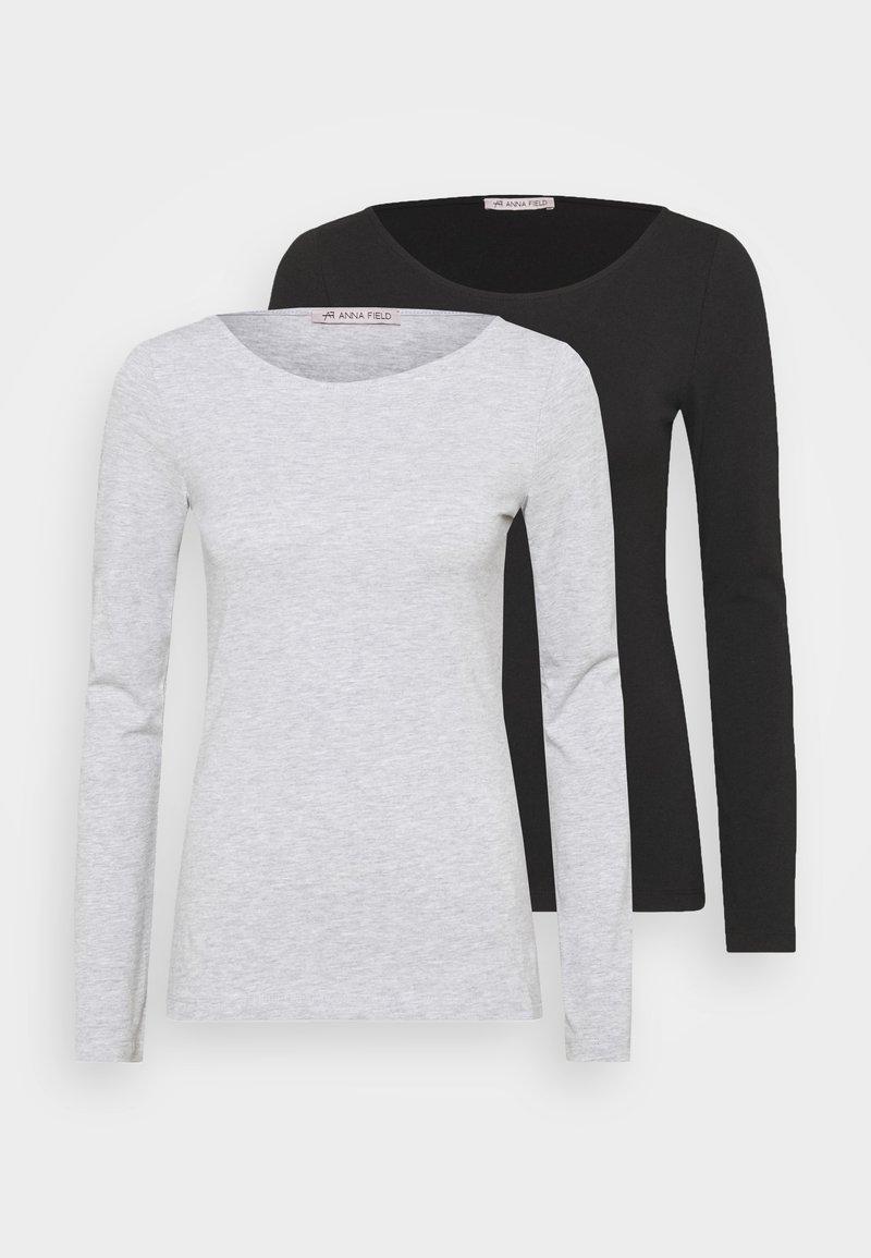 Anna Field - 2 PACK - Long sleeved top - black/mottled grey