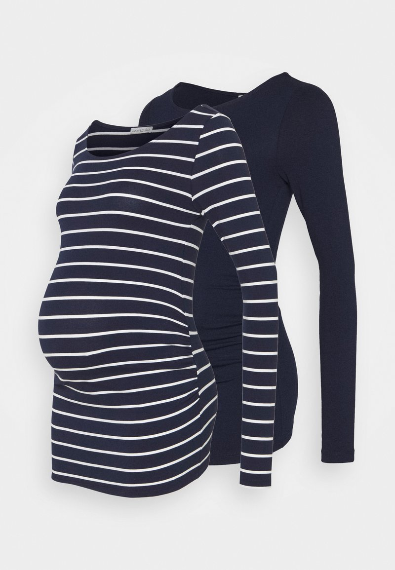 Anna Field MAMA - 2 PACK - Long sleeved top - white/navy