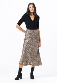 HALLHUBER - MIT MILLEFLEURS-PRINT - A-line skirt - schwarz - 1