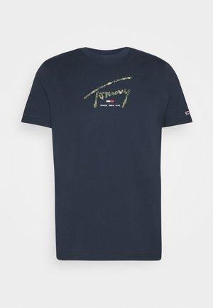 HAND WRITTEN LINEAR LOGO TEE - Print T-shirt - twilight navy