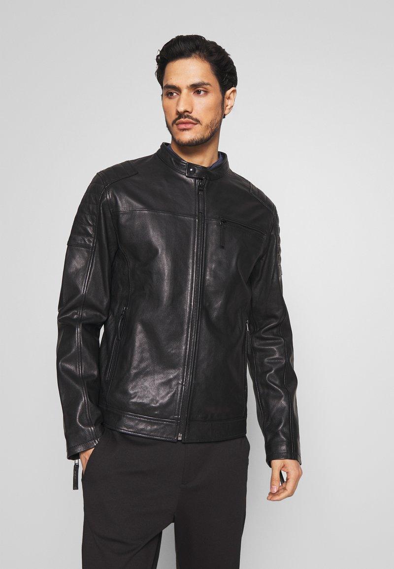 Esprit - BIKER - Veste en cuir - black