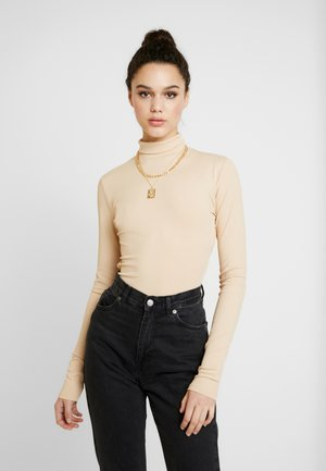 OPEN BACK HIGHNECK BODYSUIT - Longsleeve - beige