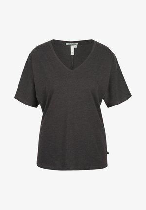 MIT V AUSSCHNITT - T-shirt basic - dark grey melange